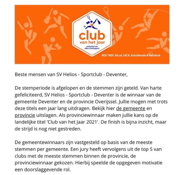 Club van het jaar!! Gemeente en Provincie